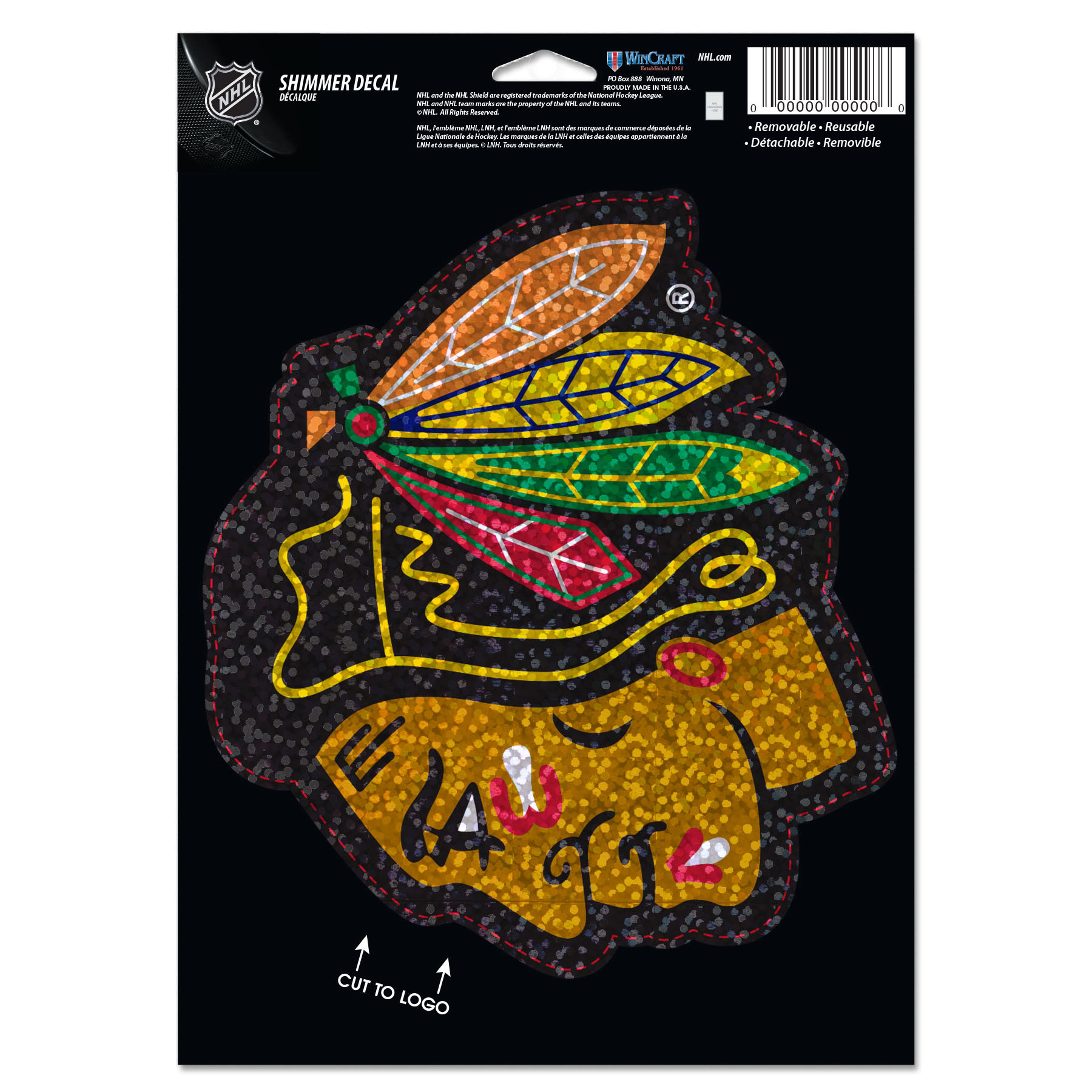 "Chicago Blackhawks WinCraft 5"" x 7"" Shimmer Decal - No Size"