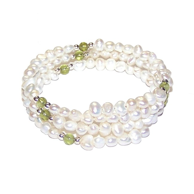 Aluma USA Sterling Silver White Freshwater Pearl and Peridot Gemstones Coil Wrap Bracelet