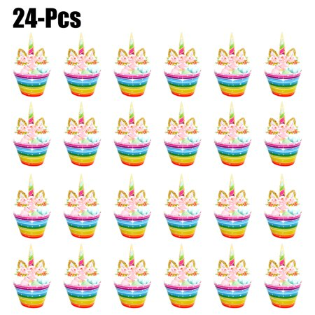 24PCS Cake Toppers Cute Cartoon Unicorn Cupcake Topper Cake Decor Topper  with 24PCS Cupcake Wrappers for Birthday