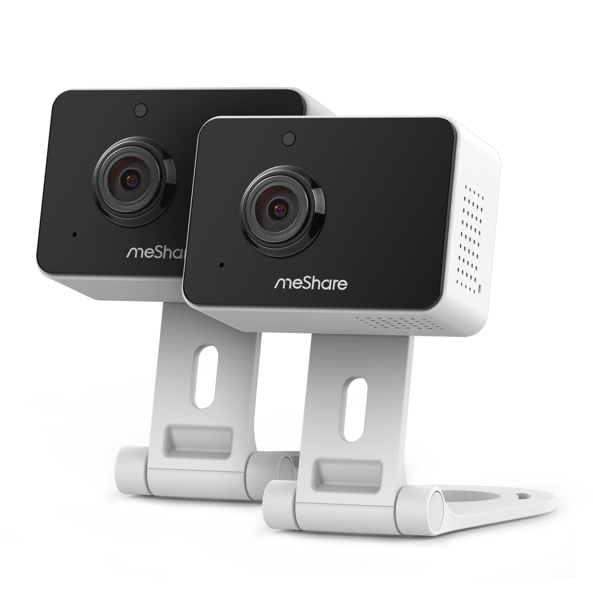 meShare 1080p Mini Wireless Two-way Audio Camera 2-Pack with Free 6-Month Cloud Service Plan and Cloud AI Security-Works with Google Assistant