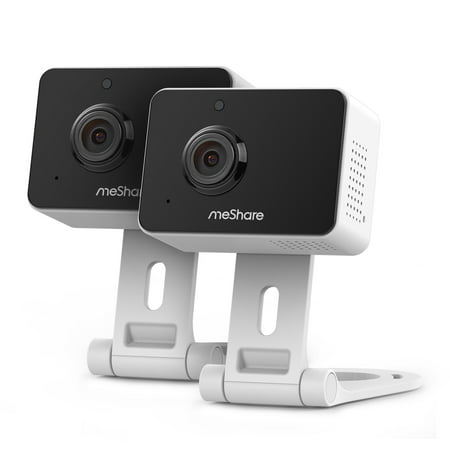 meShare 1080p Mini Wireless Two-way Audio Camera 2-Pack with Free 6-Month Cloud Service Plan and Cloud AI Security-Works with Google