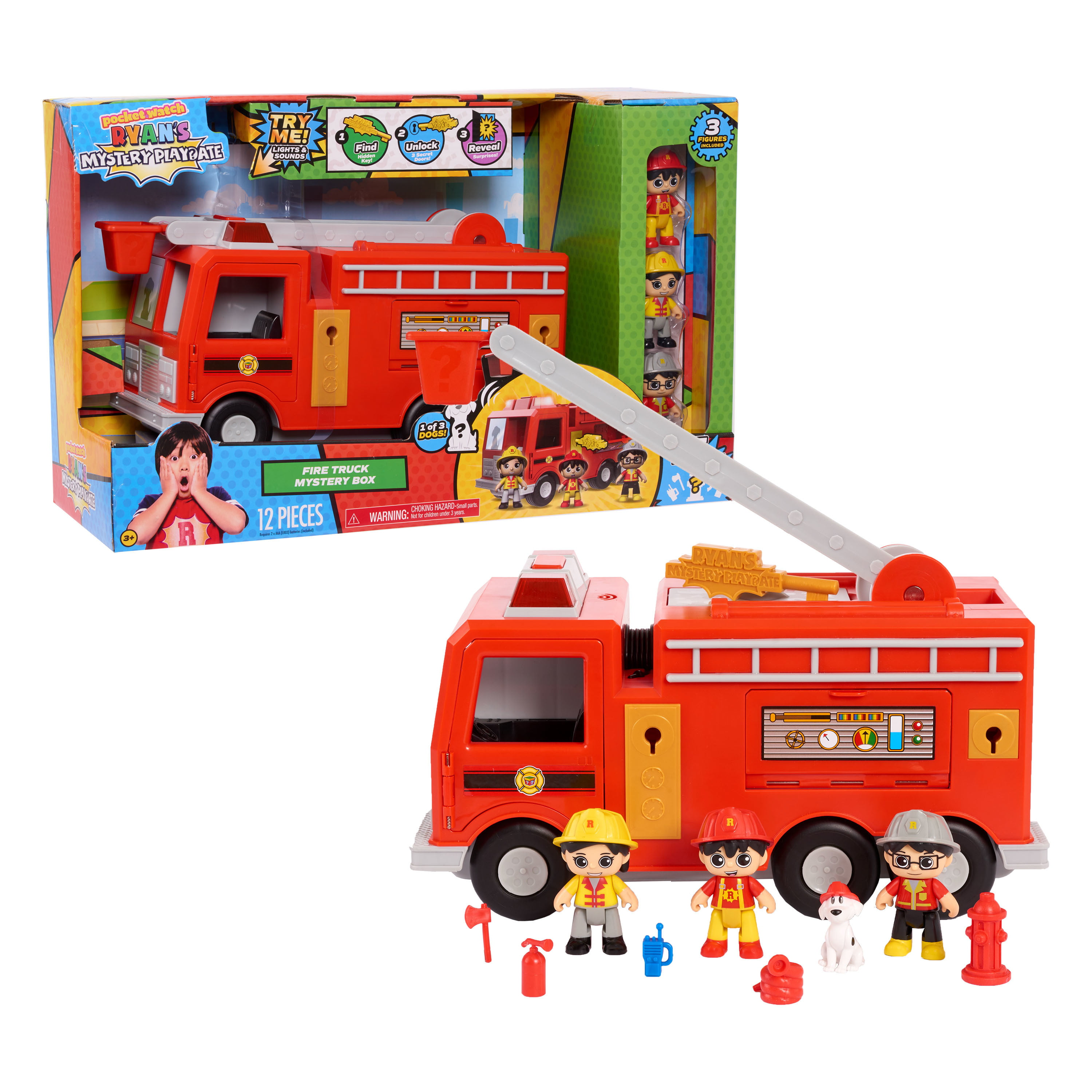 Ryan's Mystery Playdate Fire Truck Mystery Box, Vehicles, Ages 3 Up And Up, By Just Play