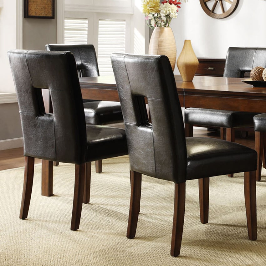 Tribecca Home  Mendoza Crry Finish Black Keyhole Back Dining Chairs (Set of 2)