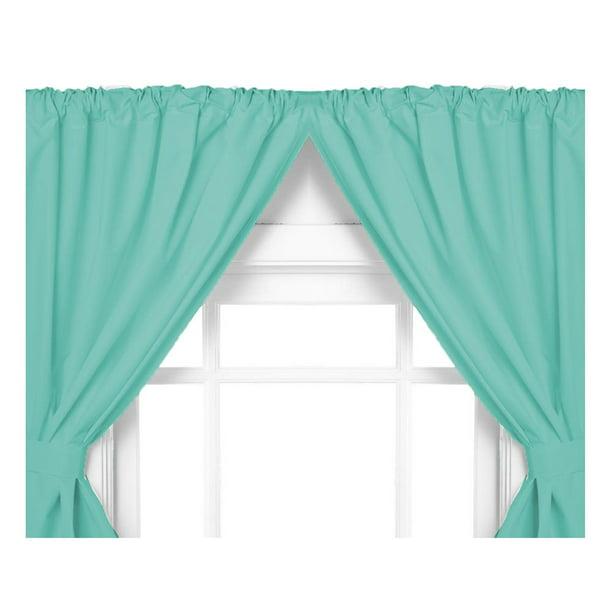 Jade Green Double Swag Vinyl Bathroom Window Curtains W Tie Backs 36 Lx45 W Walmart Com Walmart Com