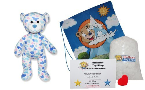 Make Your Own Stuffed Animal Blue & Pink Hearts Teddy Bear Kit No Sew With Cute Backpack! by Stuffem's Toy Shop