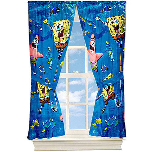 "Nickelodeon Spongebob ""Anchors Away"" Microfiber Curtain Panels, Set of 2"