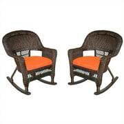 Jeco Rocker Wicker Chair in Espresso with Orange Cushion (Set of 2)
