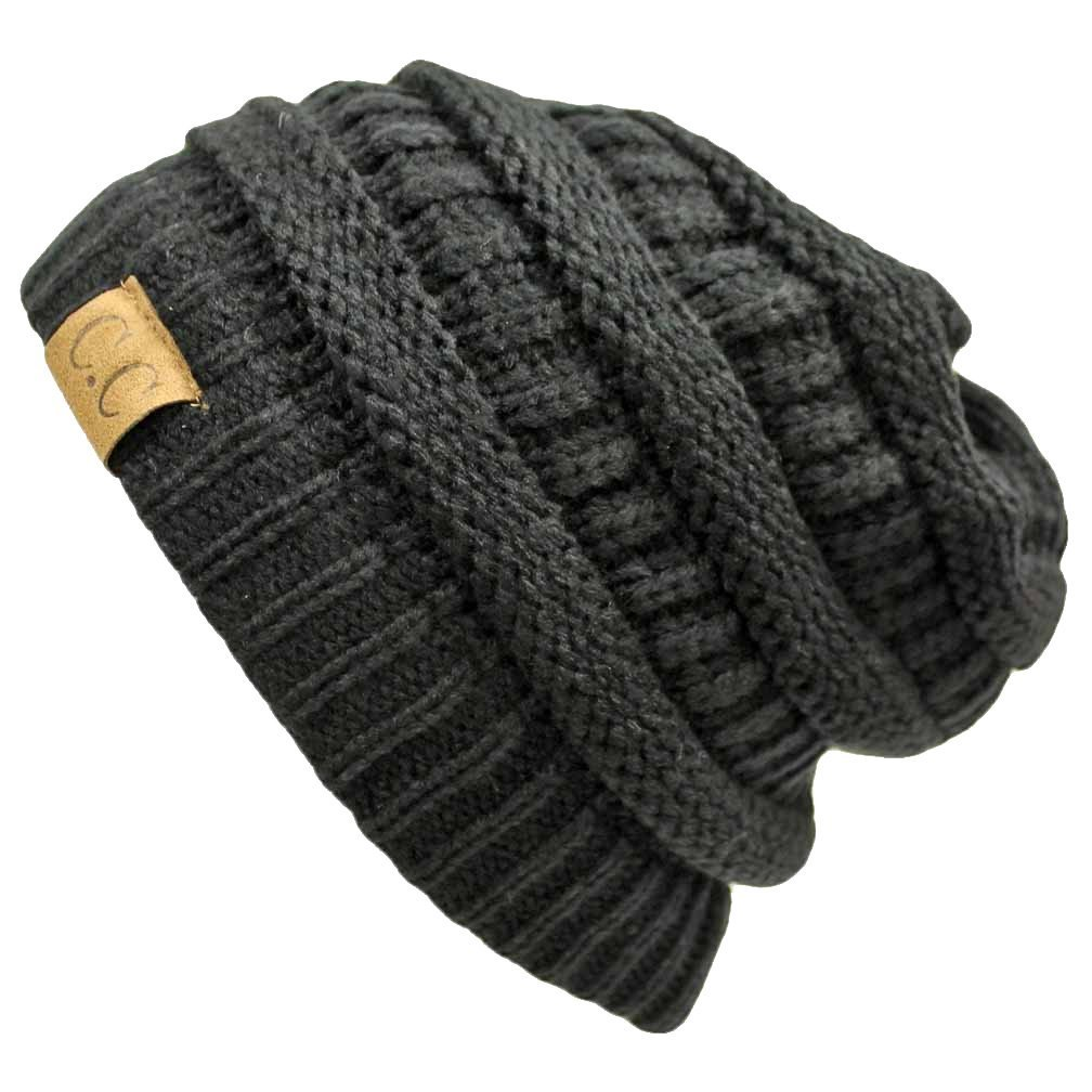 C.C - C.C Women s Thick Soft Knit Beanie Cap Hat - Walmart.com d67f19f82eb