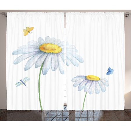 Red Barrel Studio Springfield Country Chamomiles Moths Dragonflies Refreshing Nature Print with Light Colors Graphic Print & Text Semi-Sheer Rod Pocket Curtain Panels (Set of 2)](Red Rose Springfield)