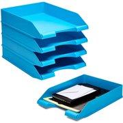 Stackable Letter Tray, Plastic Desk Organizer for Desktop Accessories, Blue, 10 x 13.5 x 2.5 in.