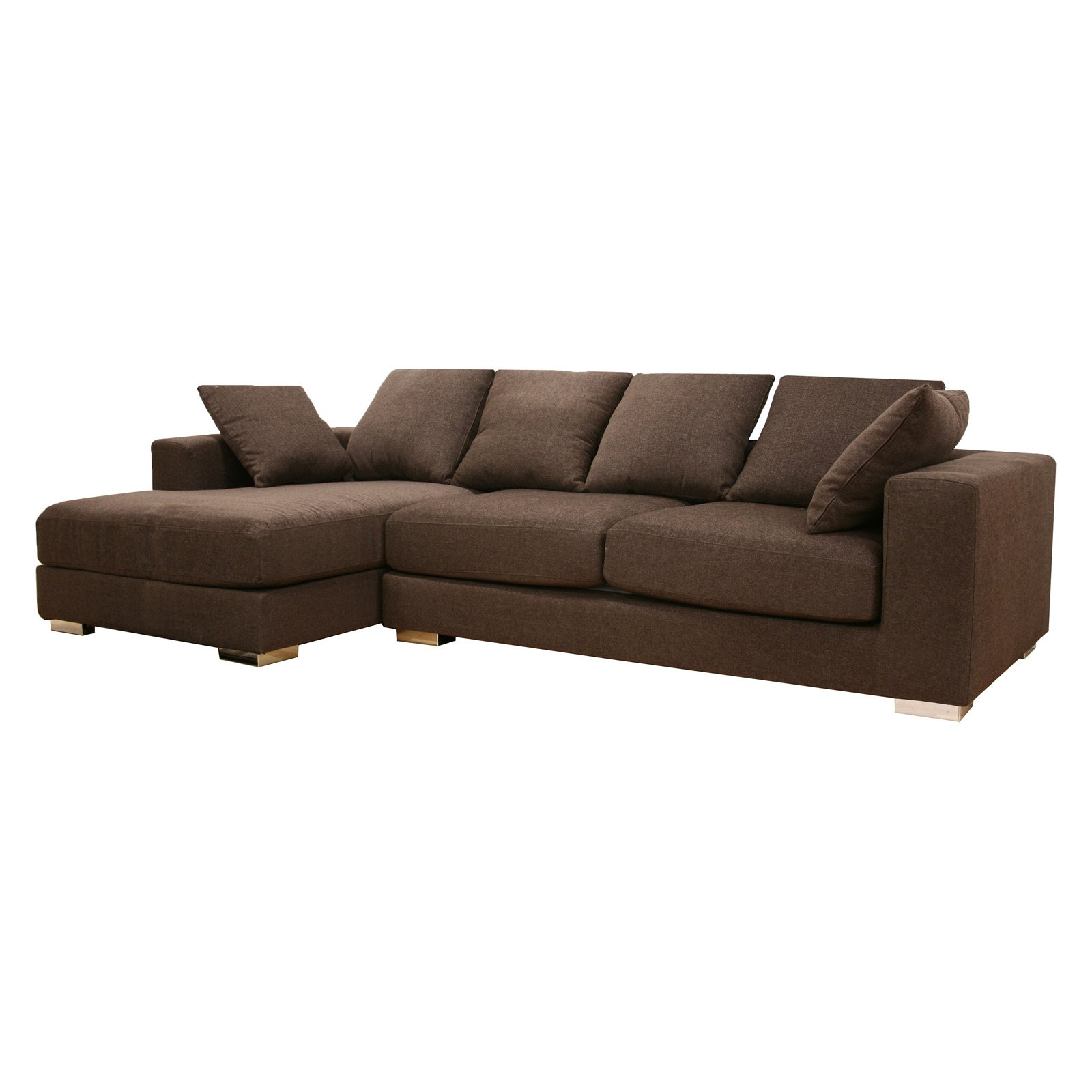 Baxton Studio Florence Brown Twill Sectional Sofa