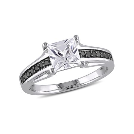 1-1/3 Carat T.G.W. Created White Sapphire and 1/7 Carat T.W. Black Diamond Sterling Silver Engagement Ring (Black Diamond Ring Engagement)