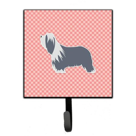 Bearded Collie Checkerboard Pink Leash or Key - Collie Key