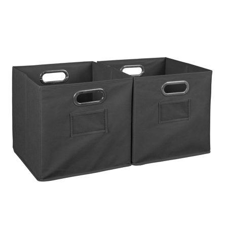 - Collapsible Home Storage Set of 2 Foldable Fabric Storage Bins- Grey