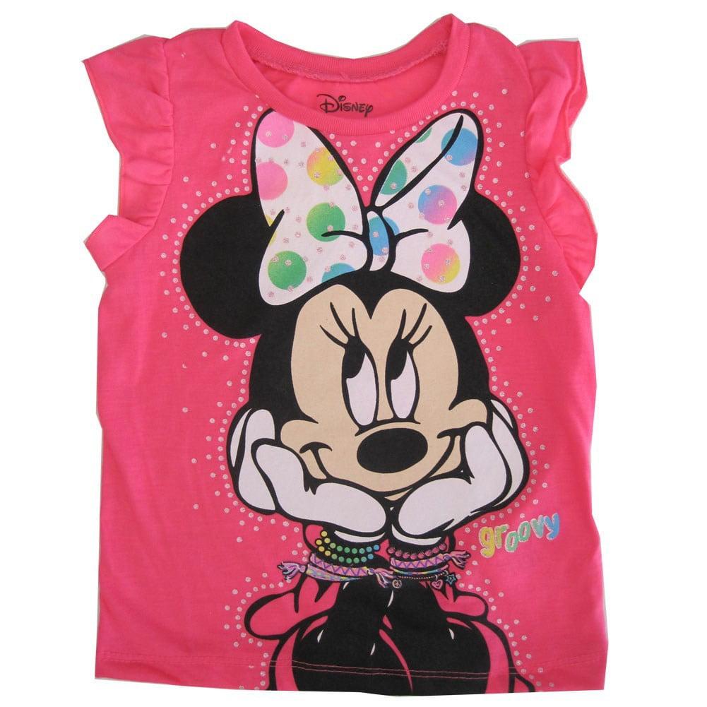 Disney Little Girls Pink Minnie Mouse Groovy Print Flutter Sleeve Top 2 - 4T