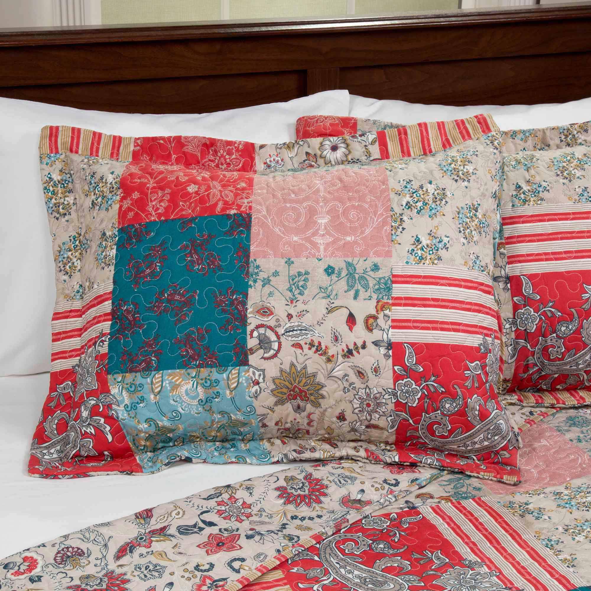 Somerset Home Premium Mallory Patchwork 3 Piece Full Queen Quilt Bedding Set Walmart Com Walmart Com