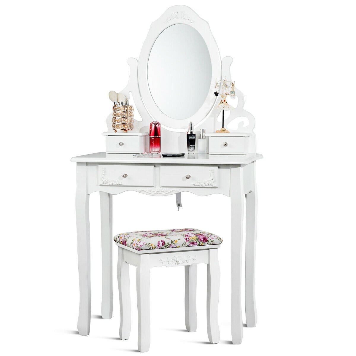 Pleasant Gymax Bathroom Wood Vanity Makeup Dressing Table Stool Set White Andrewgaddart Wooden Chair Designs For Living Room Andrewgaddartcom