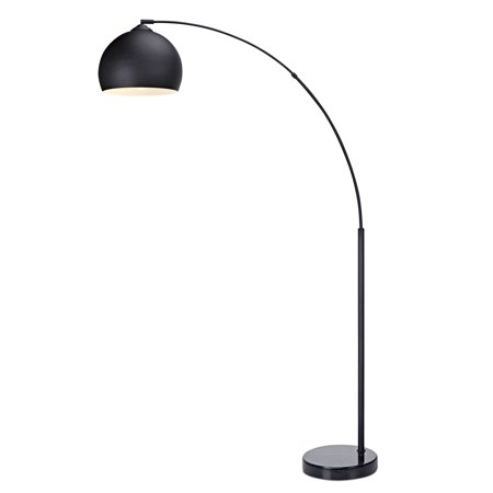 Versanora - Arquer Arc Floor Lamp with Black Shade and Black Marble Base