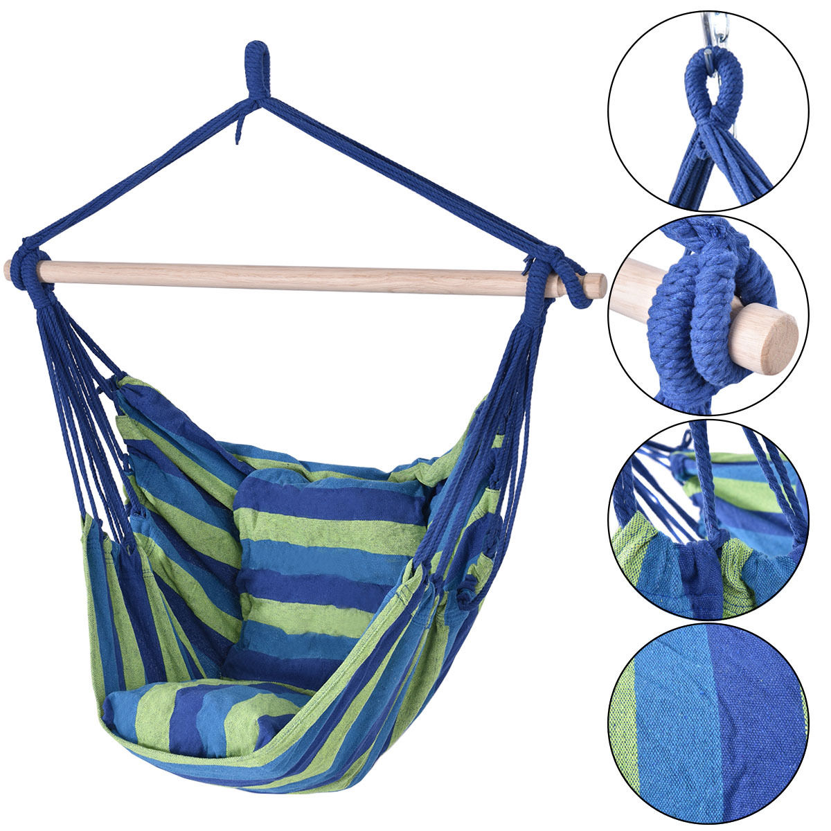 Costway Hammock Rope Chair Patio Porch Yard Tree Hanging Air Swing Outdoor (Blue And Green)