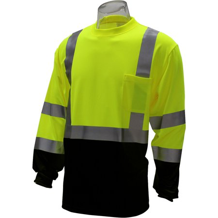80666f970b WorkForce - WorkForce #A-8342PB Class 3 Lime Long Sleeve Reflective T-Shirt  with Black Bottom - Size 2XL - Walmart.com