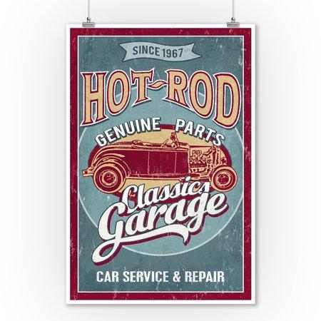 Hot Rod Garage - Classic Cars - Vintage Sign - Lantern Press Artwork (9x12 Art Print, Wall Decor Travel (Vintage Hot Rod Art)