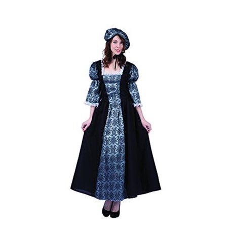 Womens Colonial Lady Charlotte Costume, Black & Silver - - Label Charlotte Halloween