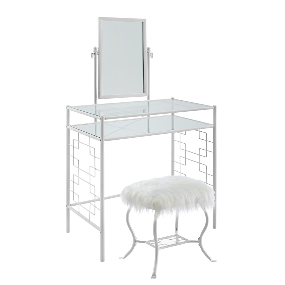 Mainstays Square Geo Metal Vanity With Mirror And Faux Fur