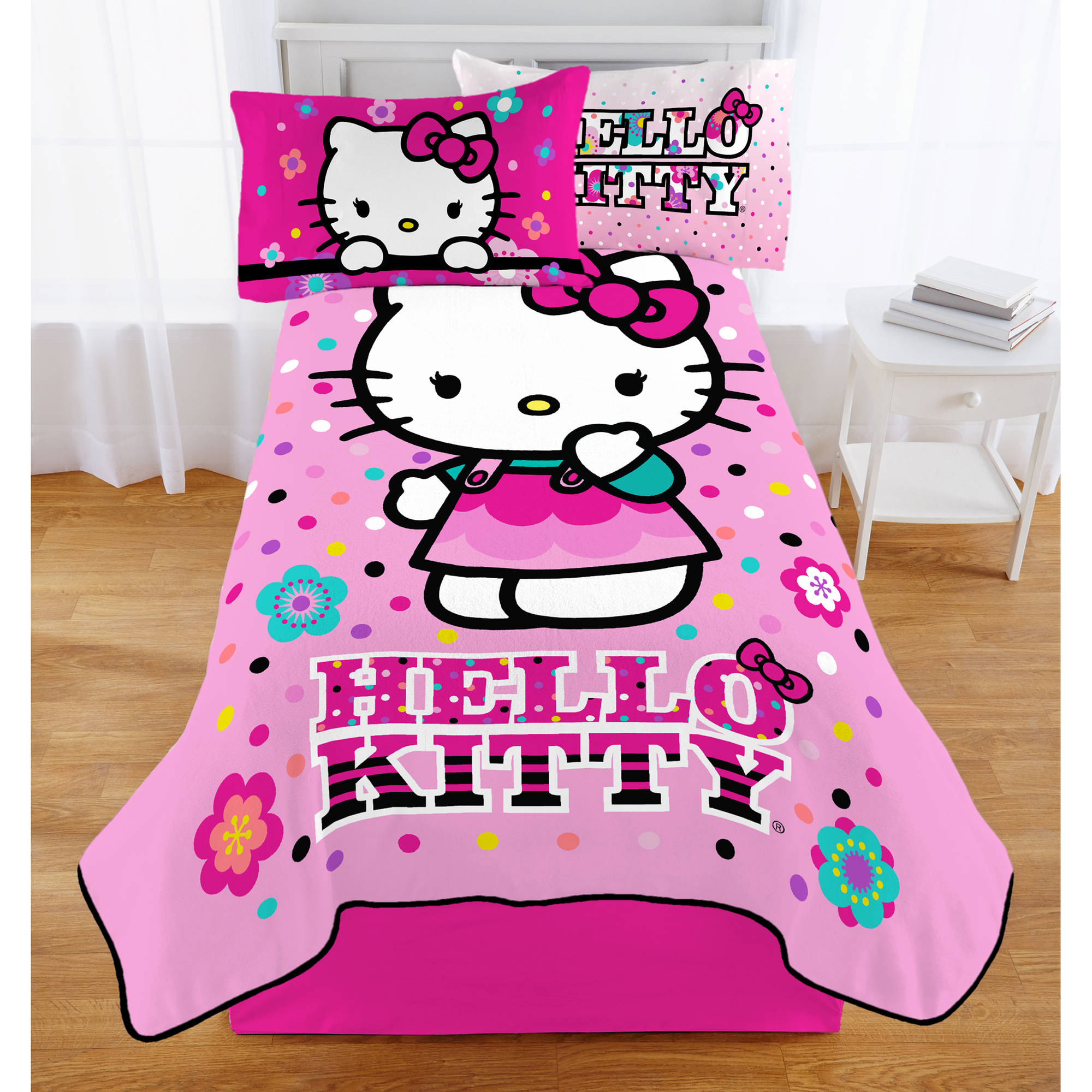 Hello Kitty Floral Dot To Dot Plush Twin Blanket