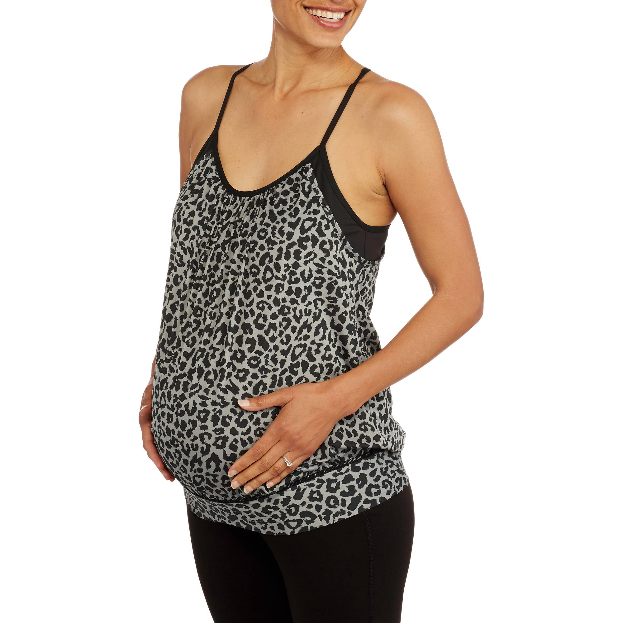 Maternity Printed Racerback Tank with Built-in-Bra