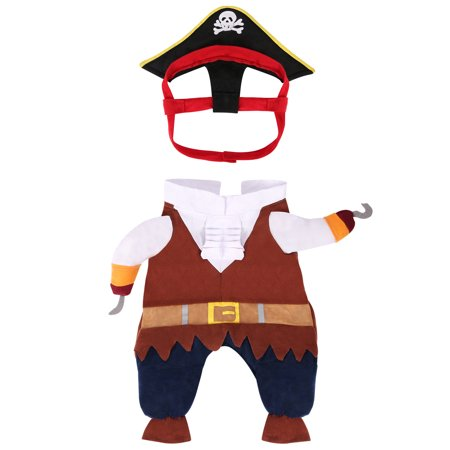 HDE Pirate Dog Costume Halloween Pet Apparel for Caribbean SeaDOGS Sized Small to Large (Brown, - Dog Pirate Costumes