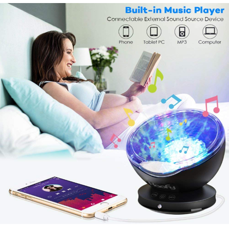 Acrylic Player Night Light - EECOO Ocean Wave Night Light Sleep Soothing Color Changing Night Light Projector with Built-in Mini Music Player for Baby Kids Mommy Bedroom Living Room Party Dating