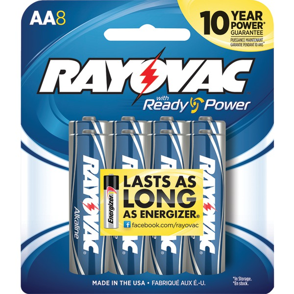Rayovac Alkaline Multi-Pack AA Batteries, 8-Pack