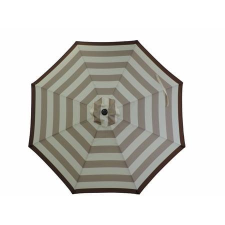 Premium Market Outdoor Patio Umbrella- TAN STRIPES (Crank & Tilt) STAND SOLD SEPARATELY