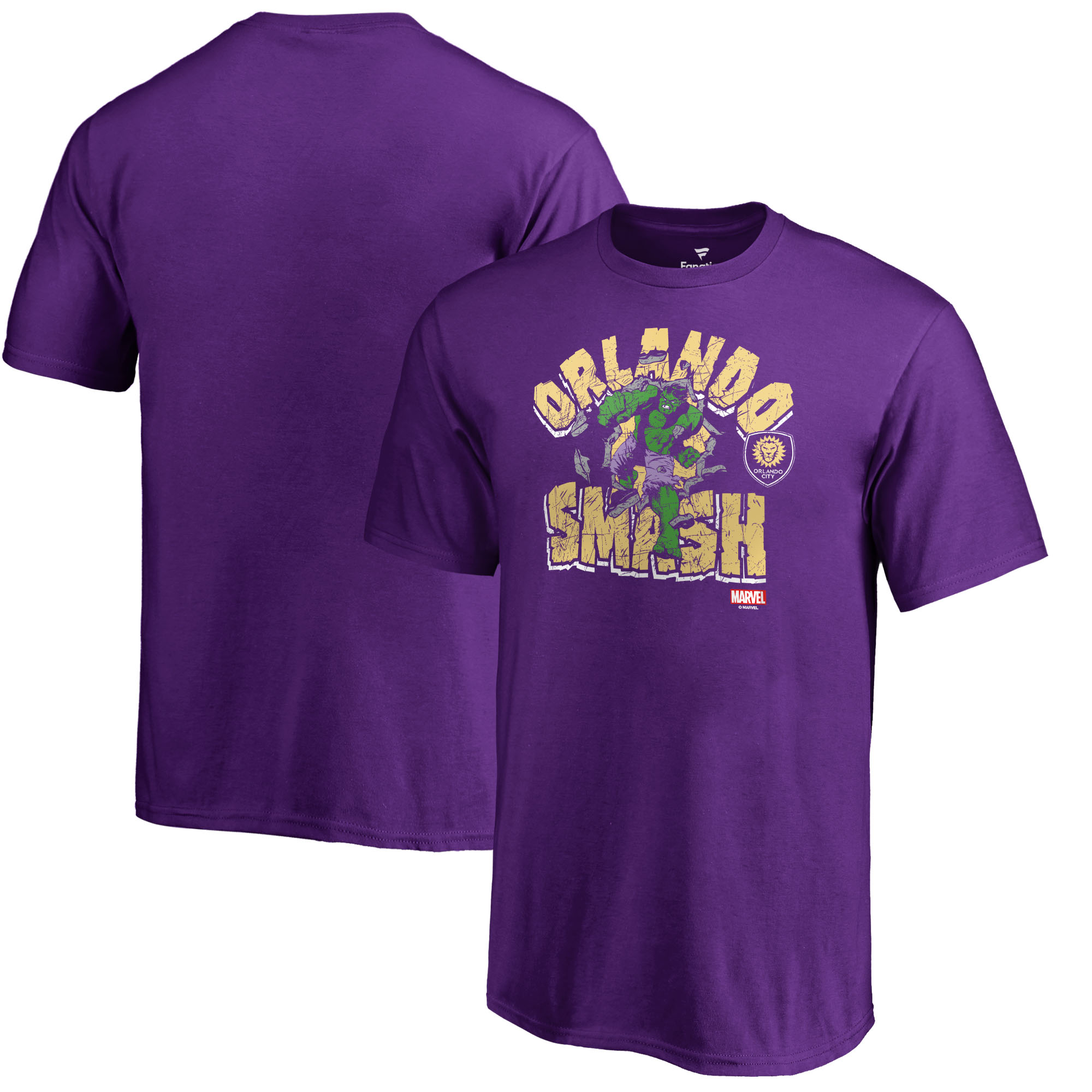Orlando City SC Fanatics Branded Youth MLS Marvel Hulk Smash T-Shirt - Purple