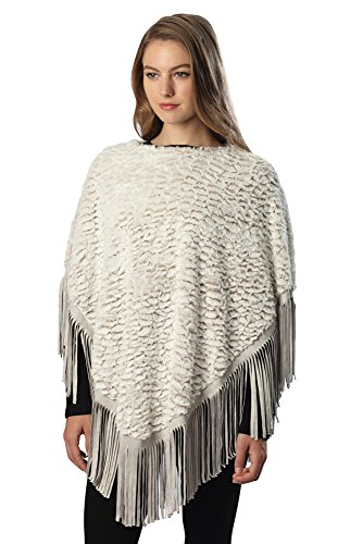 Sassy Scarves Womens Warm Faux Fur Poncho Sweater Top with Suede Fringes (Taupe) by
