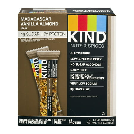 KIND Nuts & Spices Bar Madagascar Vanilla Almond, 1.4 oz, 12 ct