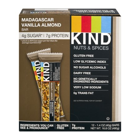 KIND Nuts & Spices Bar Madagascar Vanilla Almond, 1.4 oz, 12 ct