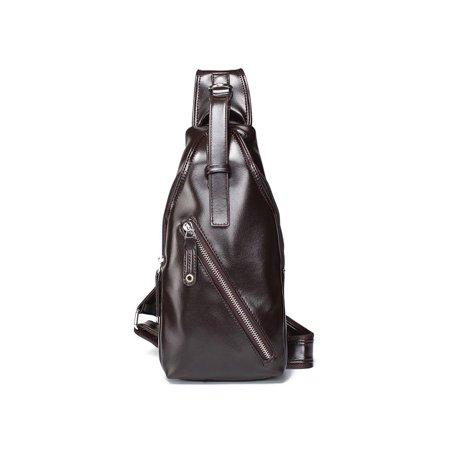 ac92d391eb Casual Men PU Leather Crossbody Chest Bag Shoulder Messenger Bag Sling  Backpack - Walmart.com