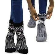TeeHee Super Warm Brushed Thermal Crew Socks 2 Pairs Pack (10-13, Black/Black)