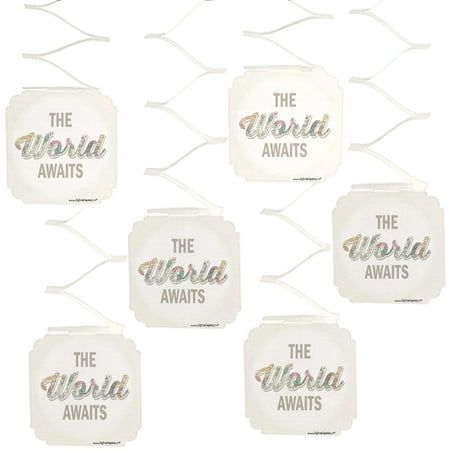 World Awaits - Travel Themed Party Hanging Decorations - 6 Count