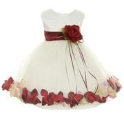 Baby Girls Ivory Burgundy Satin Petal Floating Flower Girl Dress 6M
