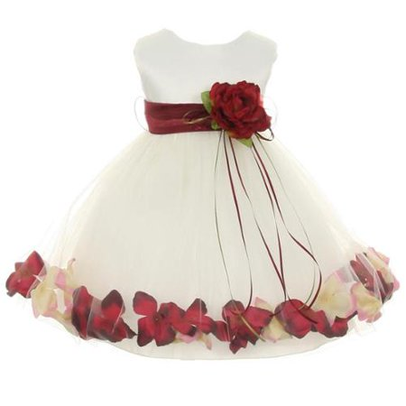 Baby Girls Ivory Burgundy Satin Petal Floating Flower Girl Dress 6M