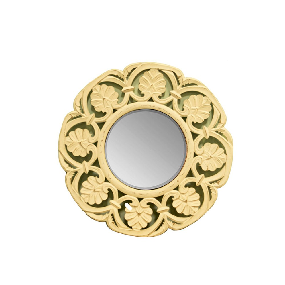Enchanting Round Mirror with wooden Carving Frame, Gold by Benzara