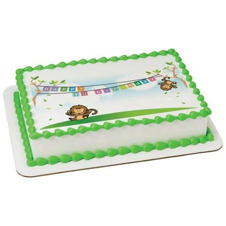 Halloween First Birthday Cakes (1st Birthday Monkeys Edible Cake Topper)