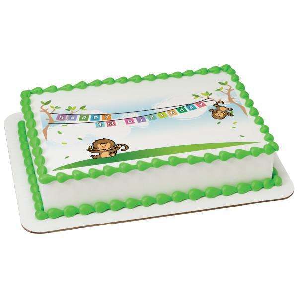 1st Birthday Monkeys Edible Cake Topper Image