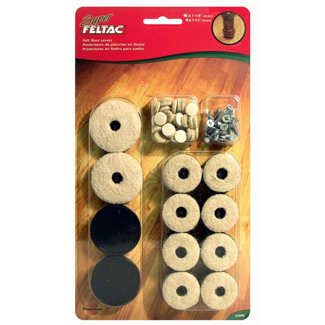 MADICO 23099 Super Feltac - Multipack 20 Pieces Heavy Duty Felt Pads - Pvc Reinforced - Beige - 10 Packs