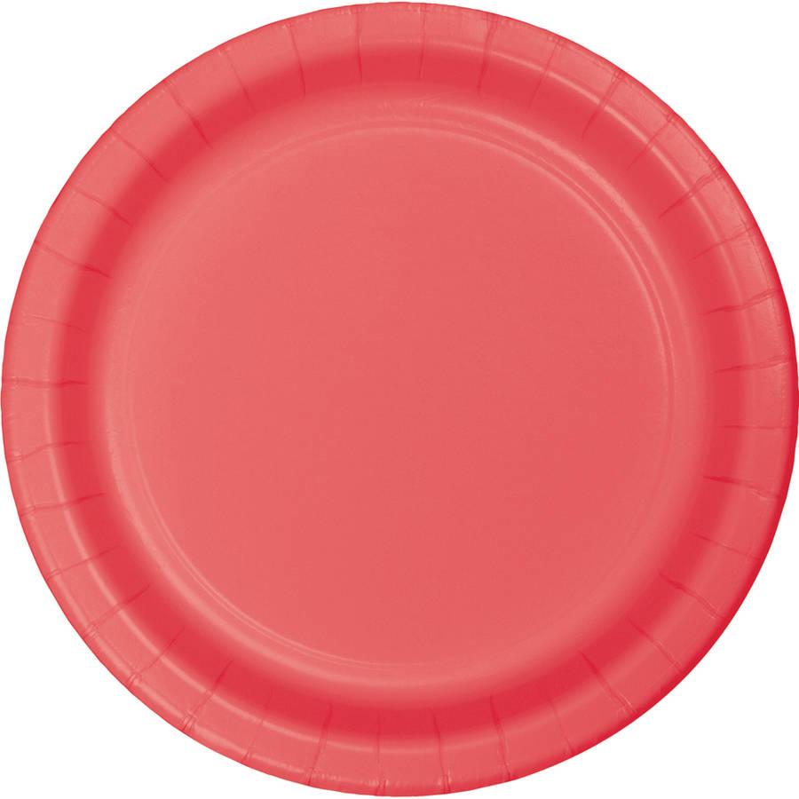 Coral Paper Dessert Plates, 24-Pack