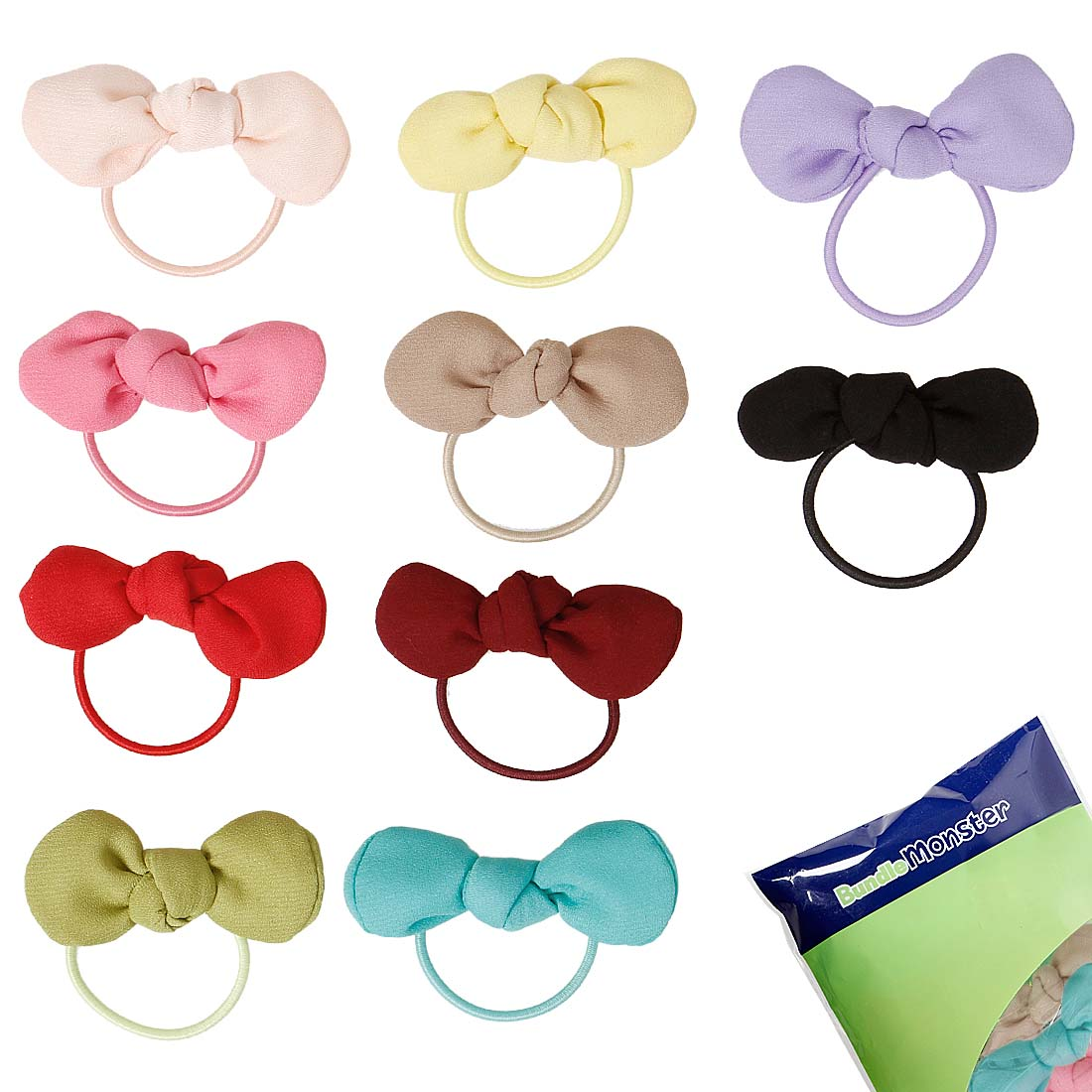 BMC Cute Little 10pc Multicolored Crepe Chiffon Mini Baby Bow Elastic Hair Ties
