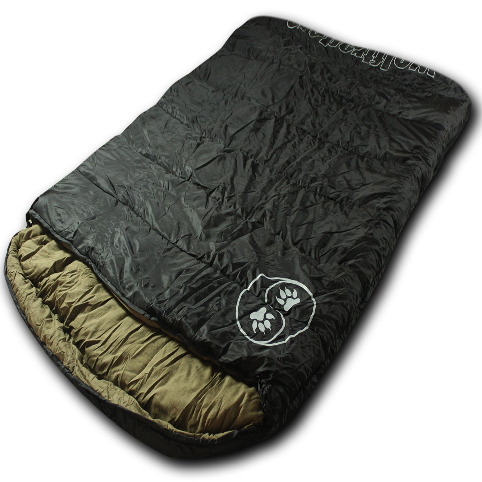 Wolftraders TwoWolves +20 Degree 2-Person Ripstop Premium Comfort Sleeping Bag, Black/Tan