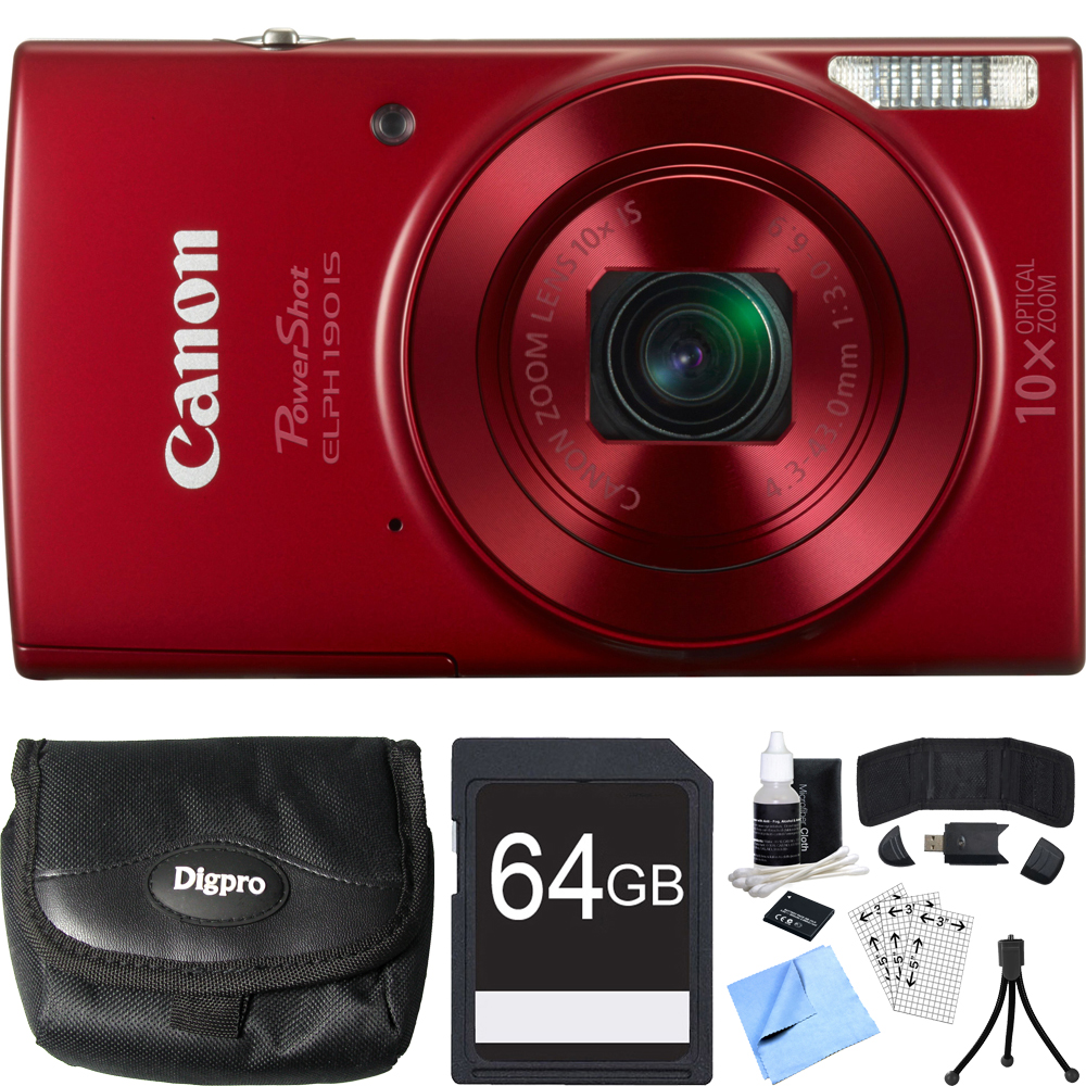 Canon PowerShot ELPH 190 IS Red Digital Camera 64GB Card Bundle includes Camera, 64GB Memory Card, Reader, Wallet, Case, Battery, Mini Tripod, Screen Protectors, Cleaning Kit and Beach Camera Cloth